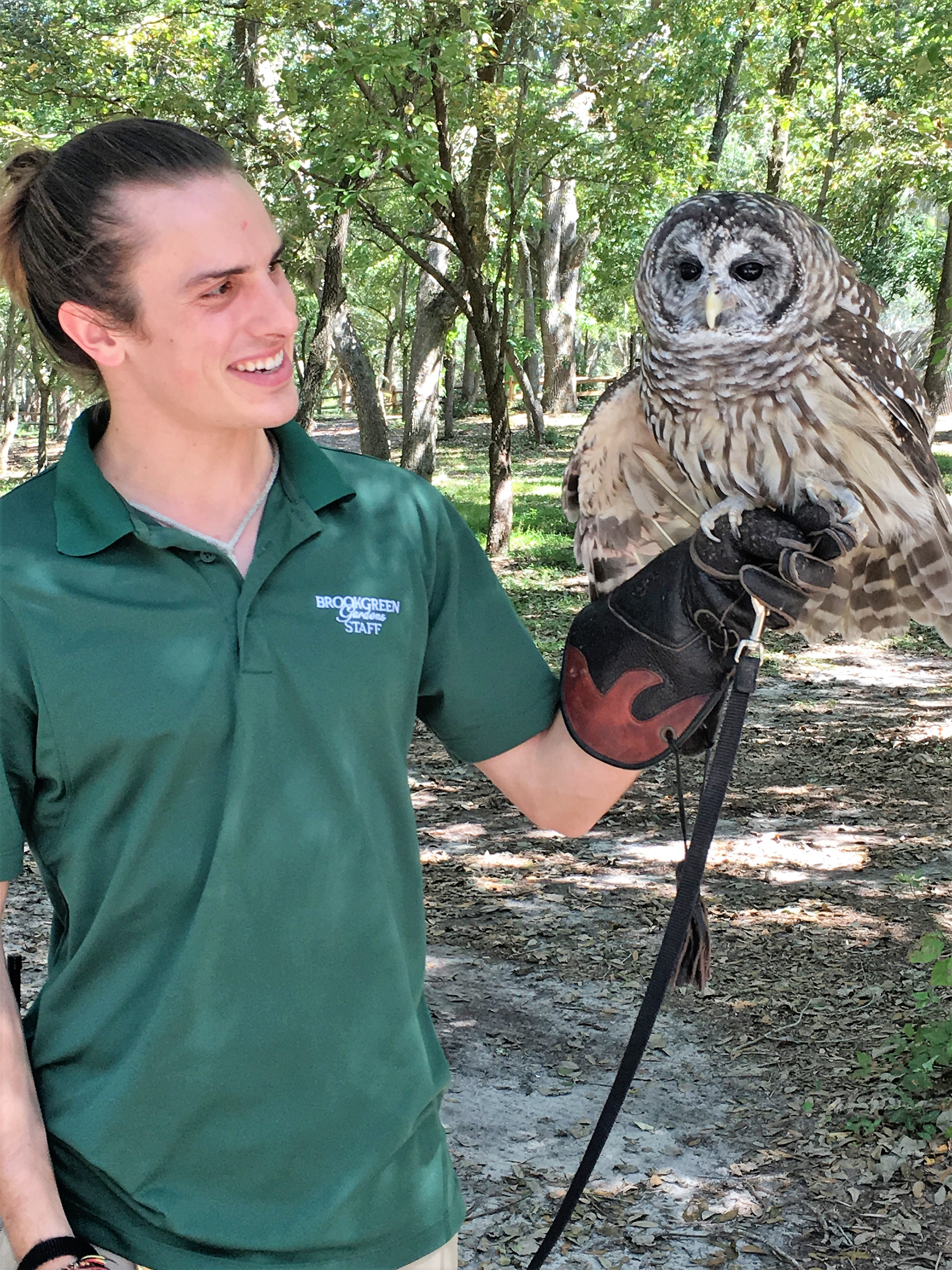 Brookgreen zookeeper with owl